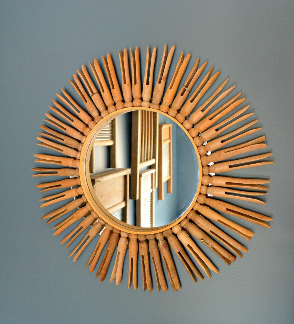 Vintage Clothespin Mirror