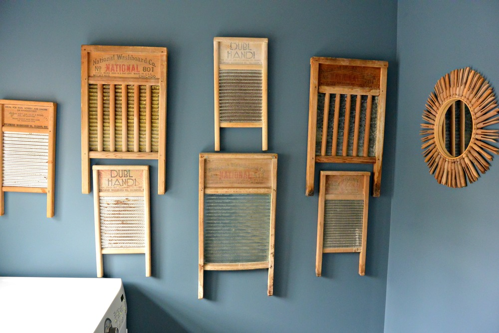 Laundry Room Makeover Reveal- Vintage Washboards as wall art