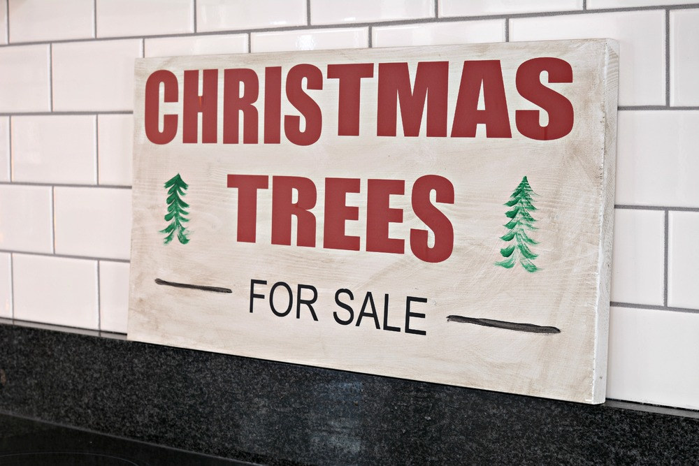 womp womp darn viruses and weakling immune system i did made a quirky gnome a lighted marquee and this lovely christmas tree sign - Christmas Trees Sale