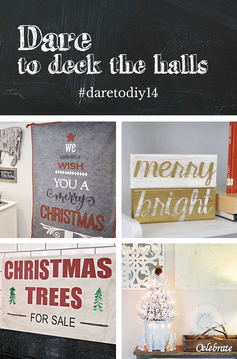Christmas Tree Wall Art by NewlyWoodwards // Merry & Bright Blocks by Maybe Matilda Christmas Trees Sign by Decor and the Dog // DIY Mini Tree by Shift Ctrl Art