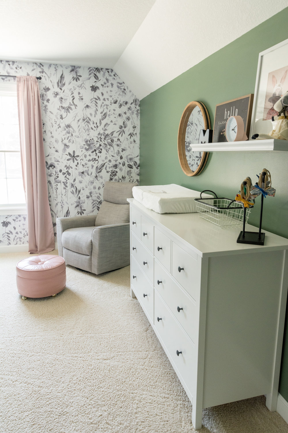 Floral and Blush Nursery, Girl Nursery