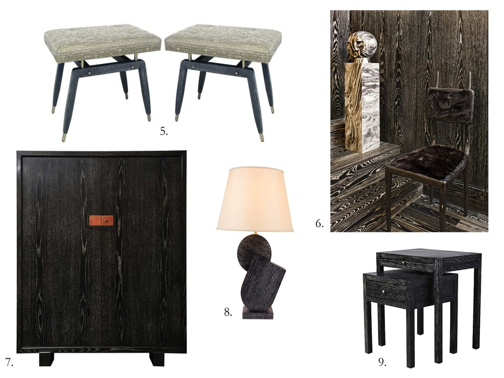 Dark Cerused Wood Furniture