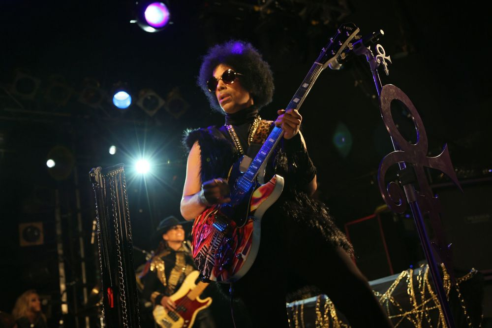 Prince performing in London earlier in February 2014