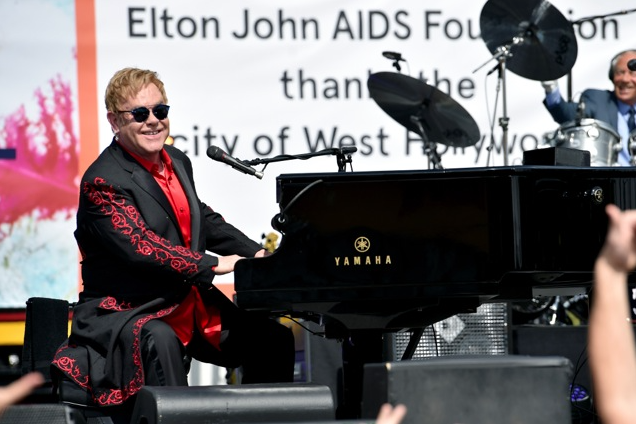 Elton John performs live on the Sunset Strip as a thank you to the City of West Hollywood for their support of the Elton John AIDS Foundation.