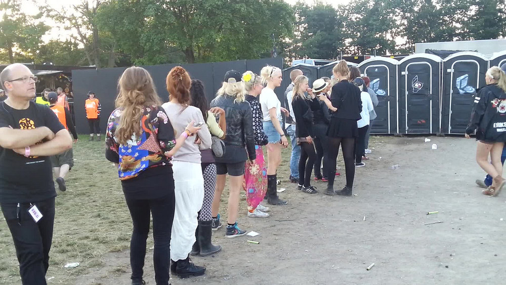 A queue for the toilets at a festival.....