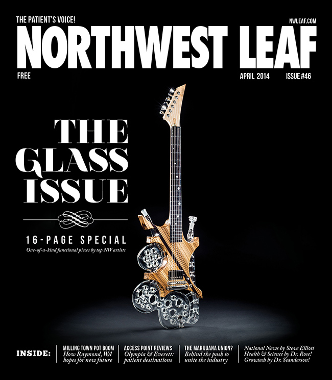 On the cover of a magazine! Nate Dizzle's SwissGuitar, with woodwork by Josh Bohn, was featured on the cover of the April issue of The Northwest Leaf magazine.