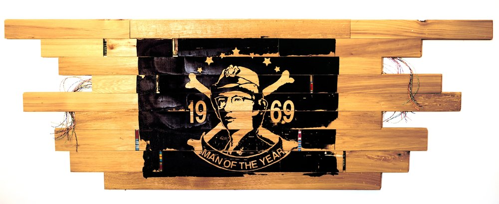 """Man of the Year""        68"" x 24""            silkscreen, antique hickory, found objects"