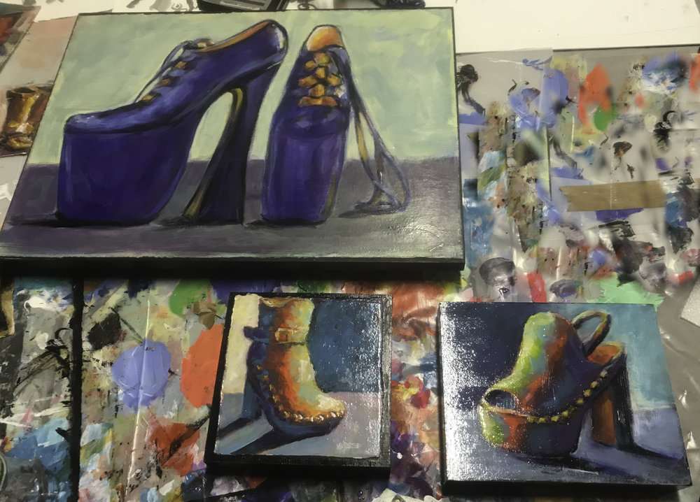 "Studio shot of three pieces mounted and ready to install at SoleAmour in Winchester  ""Long Strange Trip"" (Vivienne Westwood shoe in which Naomi Campbell had her infamous trip down the catwalk — survived:)), ""C.C. Rider"" and ""Forever Young"""