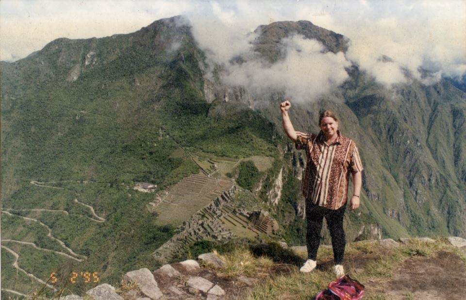 The power and spirit behind the Gallery!  Barbara Walker-Seaman looking down on Machu Picchu!