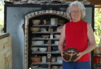 Barbara at her kiln and a sampling of her work.