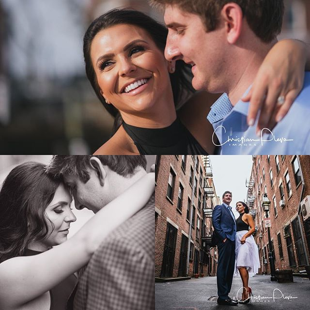 Fun #engagementphotos in the #northendboston with Toria and Lewis. #weddingphotographer #bostonweddingphotographer #engaged #bostonengagement #engagementring #christianplevaimages