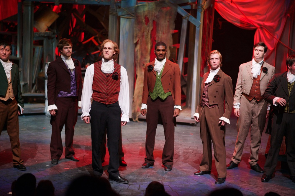 """Red and Black""  from the Atlanta regional premiere of  Les Miserables  at the Aurora Theatre , directed by Justin Anderson.  Photo Credit: Chris Bartelski"