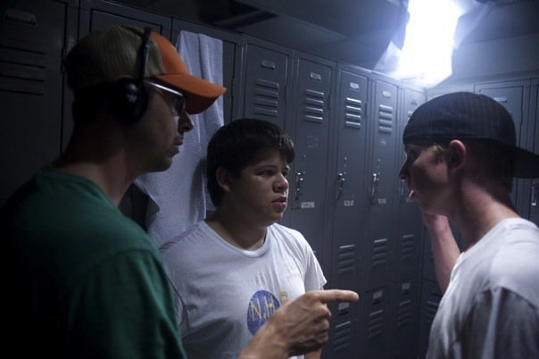 With director Jason Winn and actor Christopher Rivera on set of  The Fat Boy Chronicles.