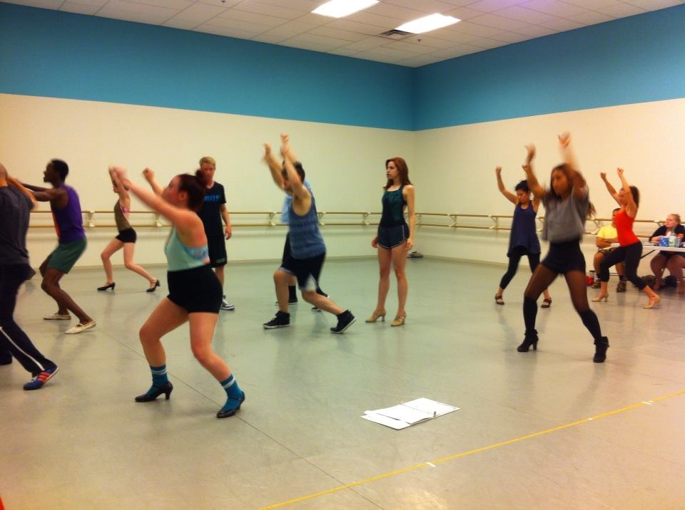 In rehearsal for  The Rocky Horror Show  at Actors Express, direction by Freddie Ashley; Choreography by Ricardo Aponte.