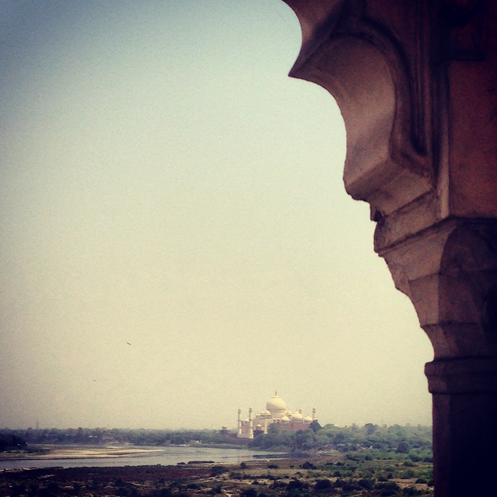 View of Taj Mahal and Yamuna River from Agra Fort