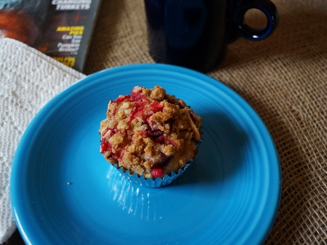 Lemon Cranberry Muffins with Almond Streusel