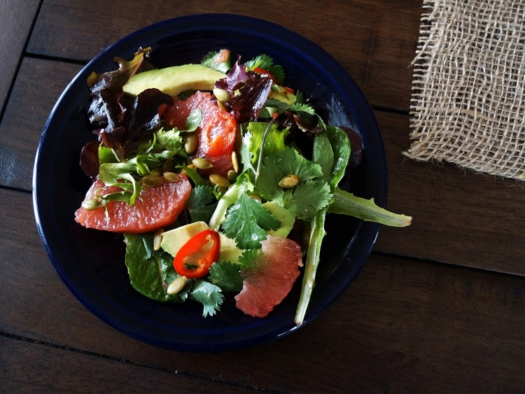 Avocado and Grapefruit Salad with Honey and Chile Vinaigrette