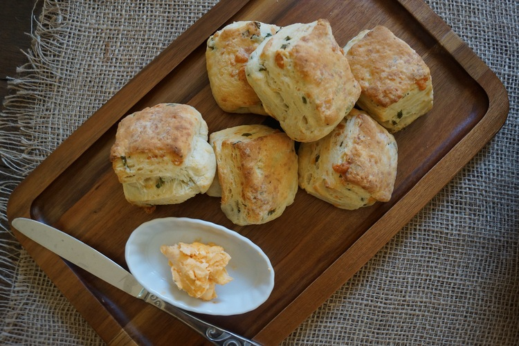 White Cheddar and Scallion Biscuits with Hot Sauce Butter