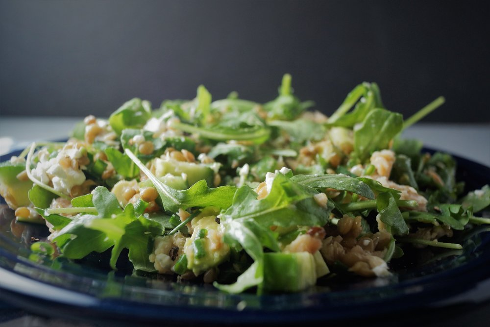 Cup Lentils 1 Cup Arugula 1 Persian Cu Ber  C2 Bc Avocado 1 Oz Smoked Trout  C2 Bd Oz Goat Cheese 1 Tbsp Chives 1 Tbsp Olive Oil And  C2 Bd Tbsp Lemon Juice