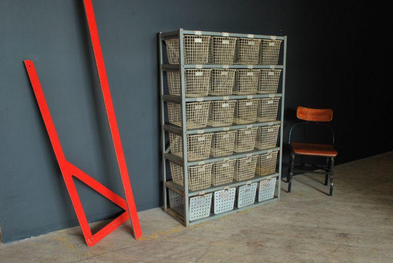 vintage wire basket storage system agent gallery chicago. Black Bedroom Furniture Sets. Home Design Ideas