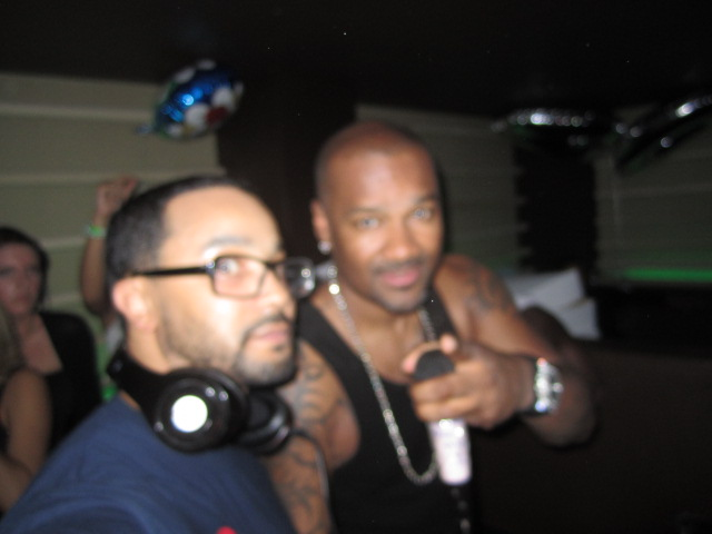 Sean Armstrong aka DJ Face rocking out with Big Tigger.