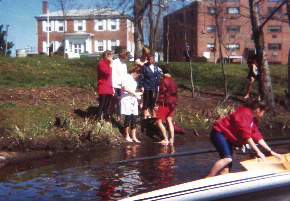 The lack of a proper dock did not slow down the first outing on the Charles.