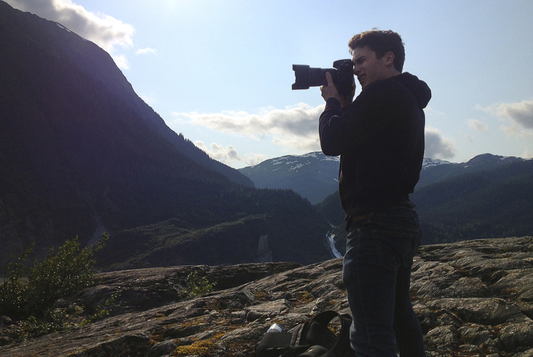 Graham photographing in Juneau, Alaska