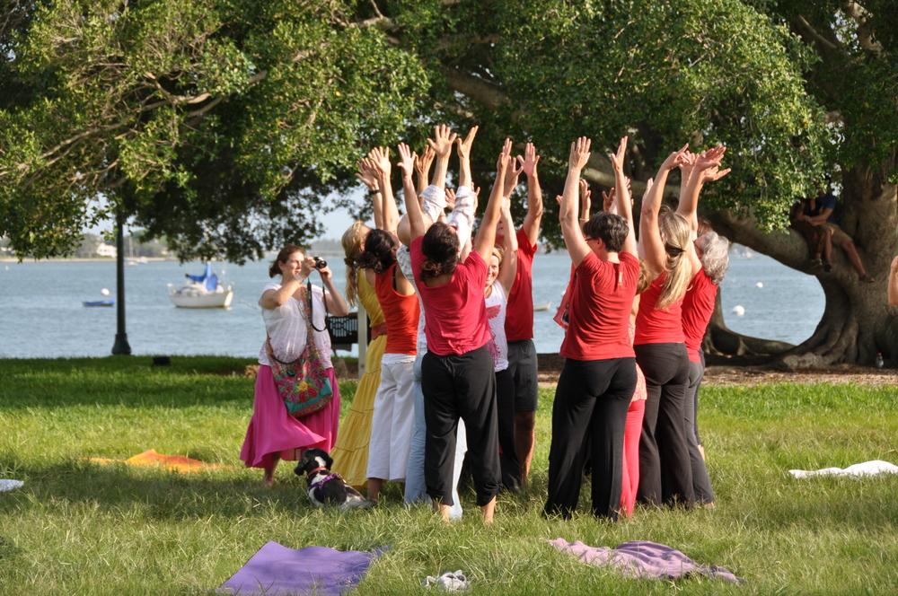 Dancing River of Gratitude videoing done outside in Sarasota Florida at Bayfront Park