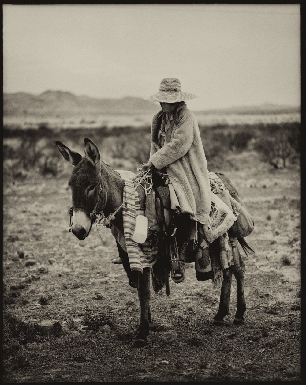 A Lady and Her Donkey, West Texas