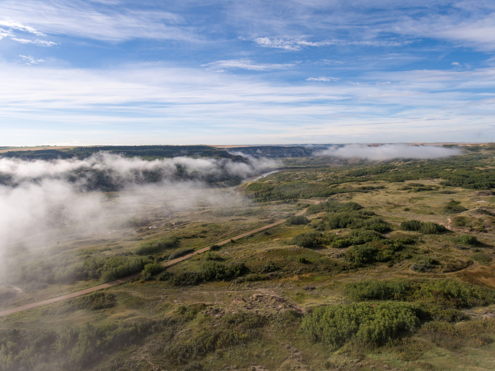 Dry Island Buffalo Jump in the clearing mist