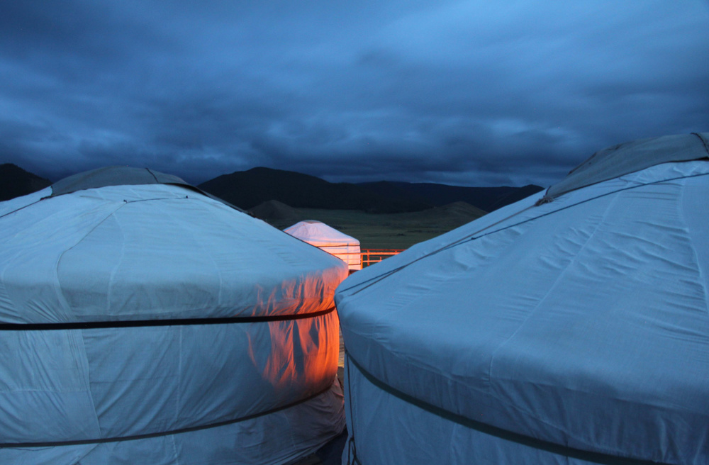 Ger camp at night, Mongolia