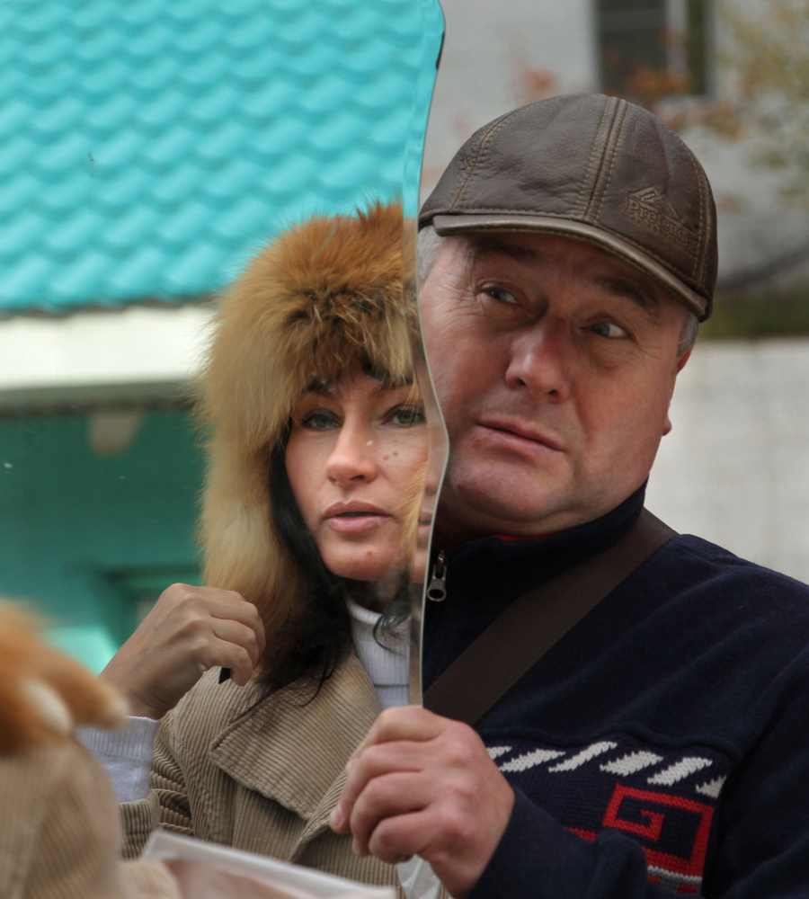 Fur hat salesman near Kirin, Buryatia, Siberia