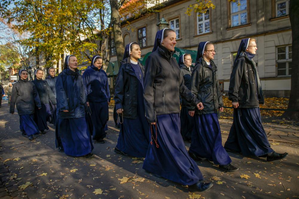 Squadron of nuns, Krakow, Poland