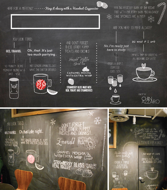 Above: Digital concept illustration for Sweetwaters Cafe in Ypsilanti and Ann Arbor | Below: The real thing