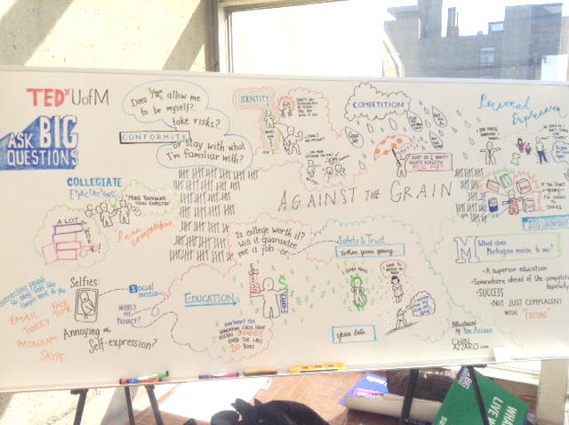 Graphic recording for TEDxUM at the Power Center in Ann Arbor