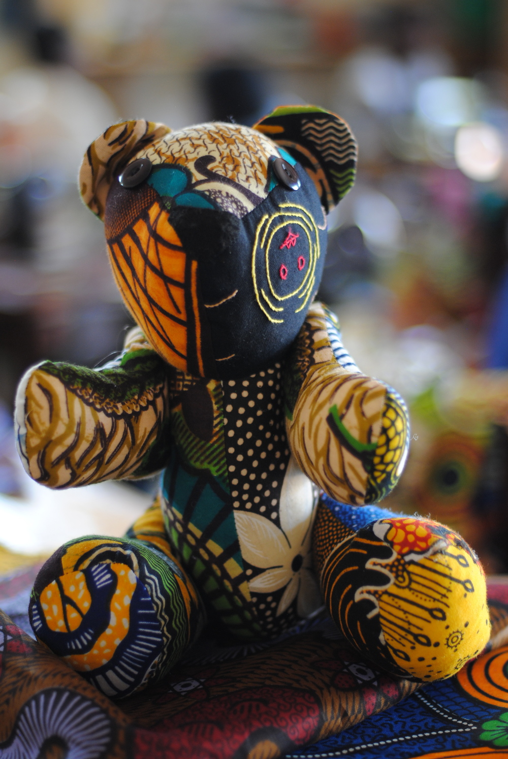 Excess scraps of chitenji can be used to make patchwork bears!