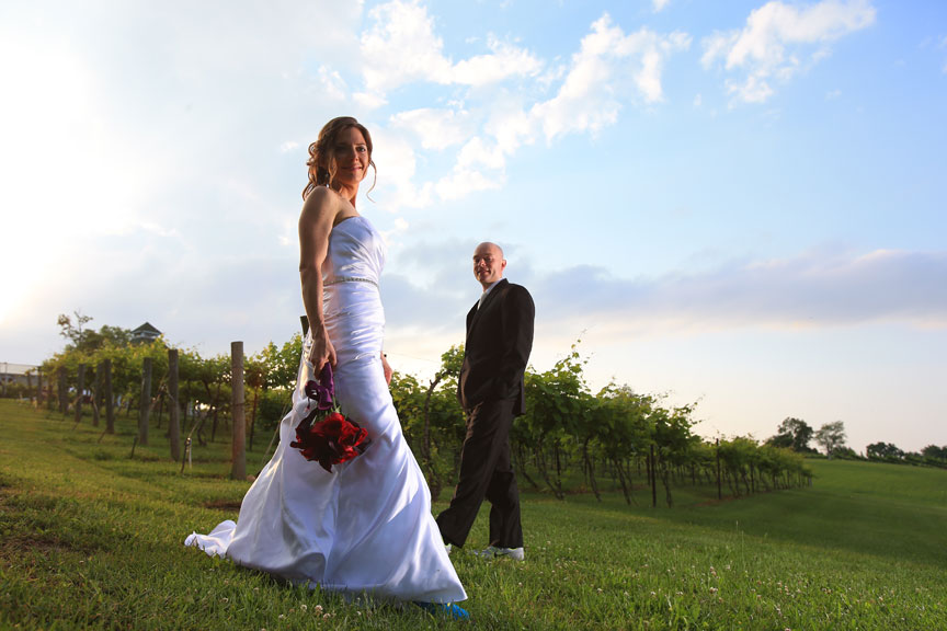 Bride and Groom in Veramar Vineyard