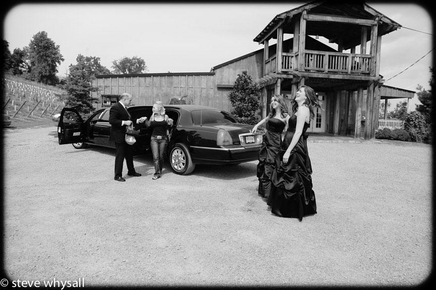 Bride arriving at Bluemont Vineyard