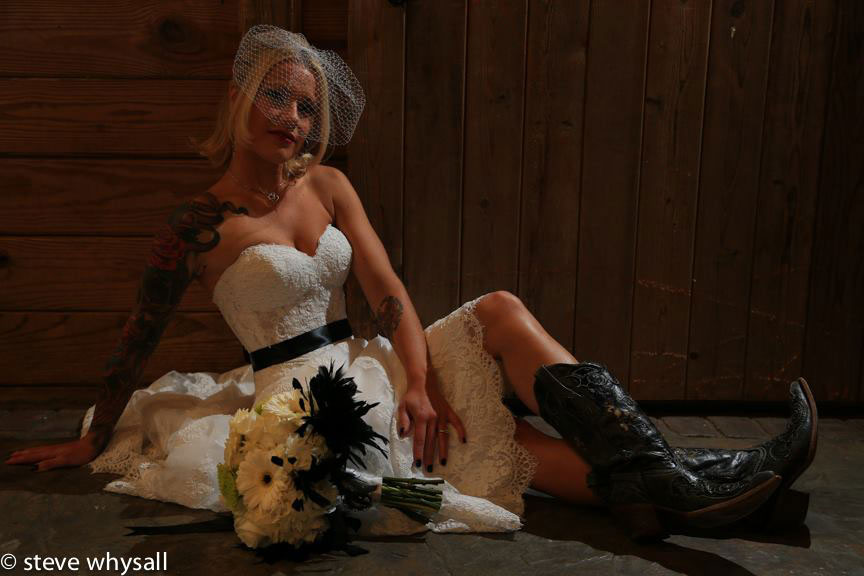Bride in her cowboy boots