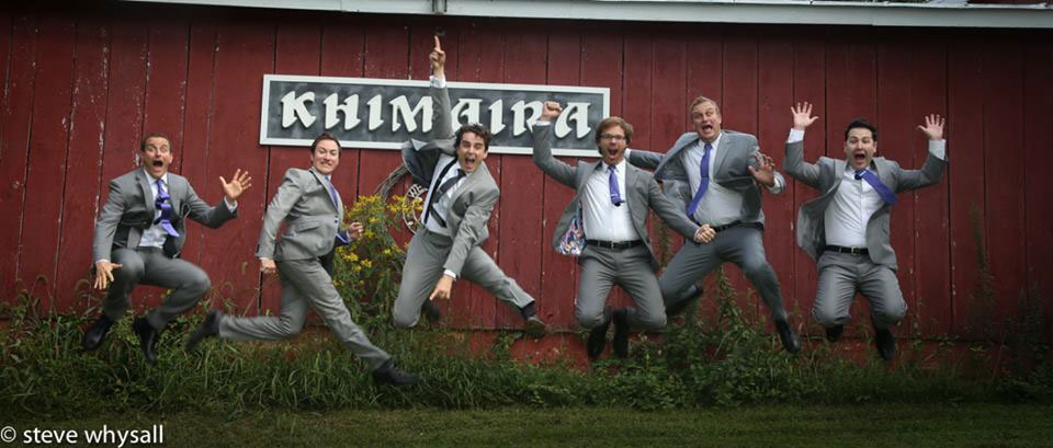 Virginia Farm Wedding Groom and Groomsmen Having Fun