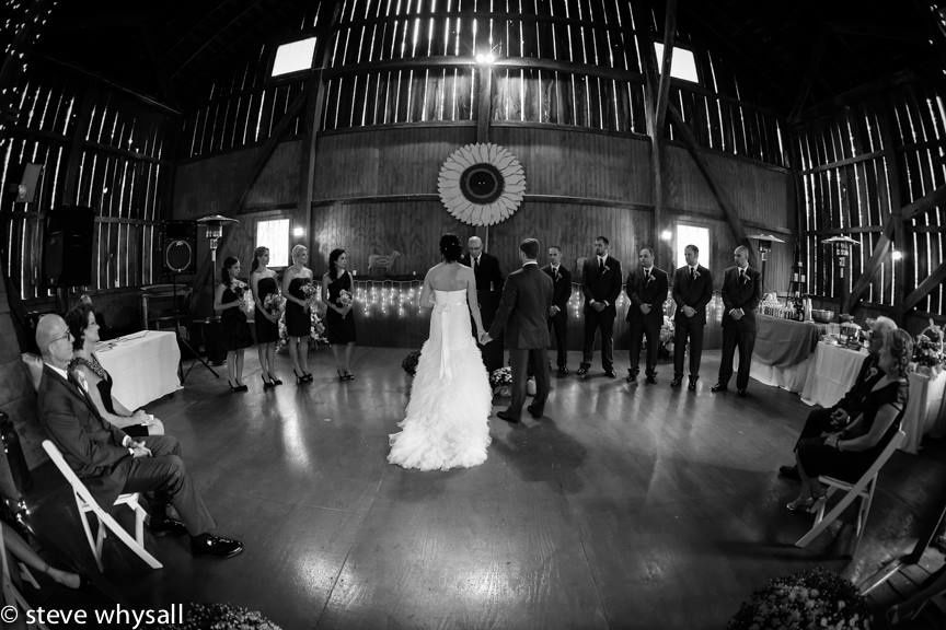 Weather Lea Farm Wedding Ceremony in the barn as it rained all day