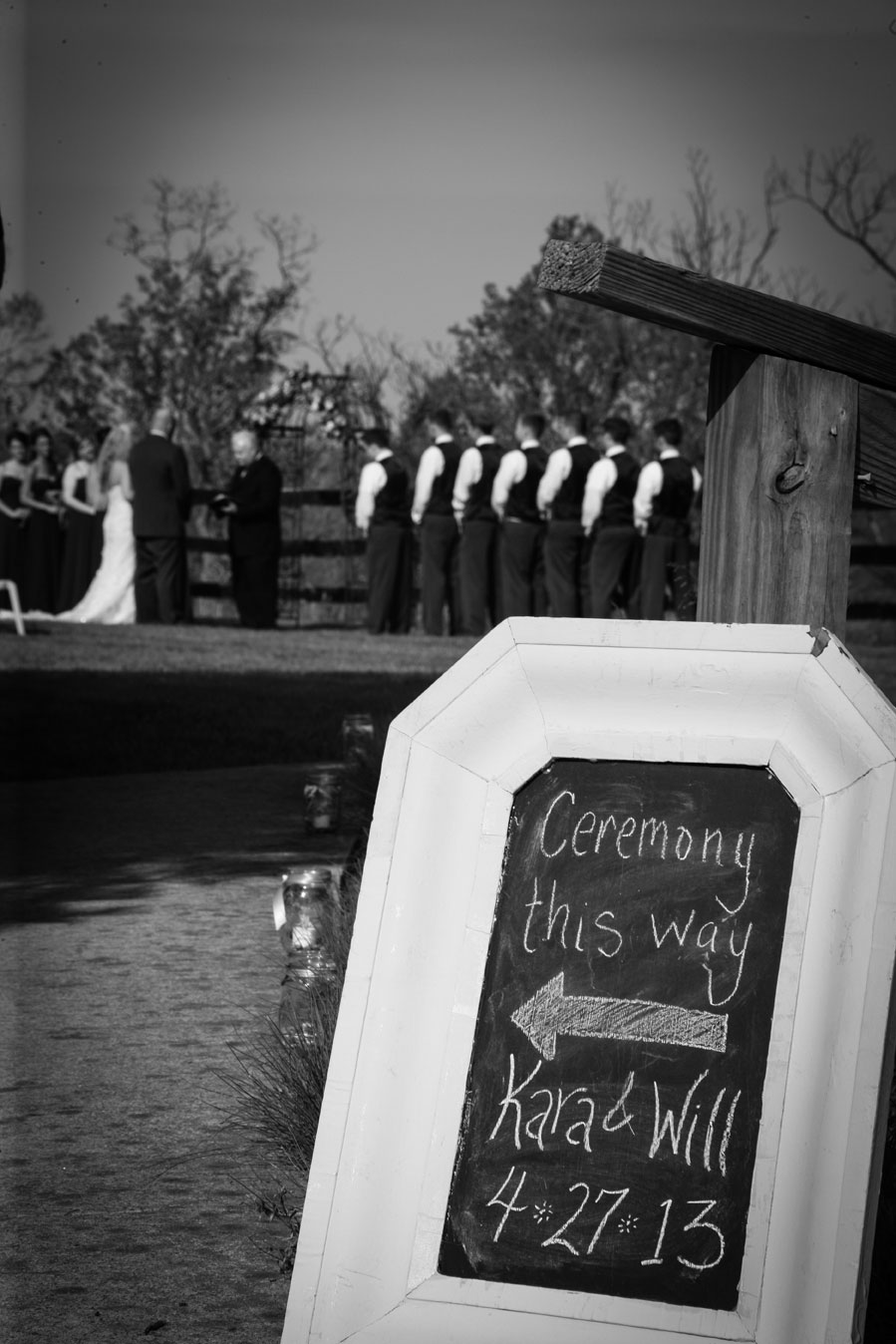 Bluemont Vineyard Wedding Ceremony Photo Black and WHite