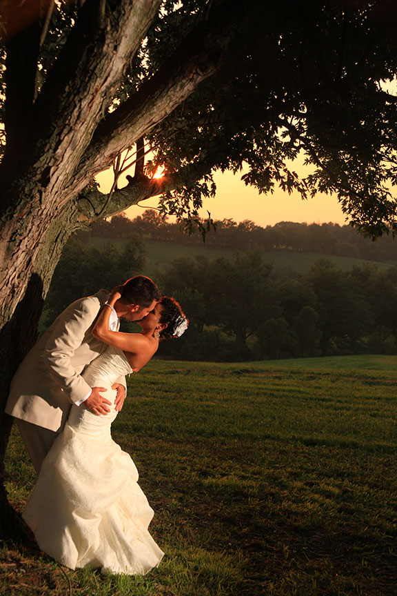 Virginia Farm Wedding Bride and Groom Under Tree With Farm in Background