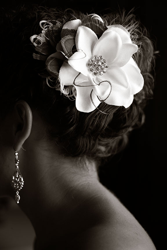 Virginia Farm Wedding Bridal Detail Portrait Flower in Hair