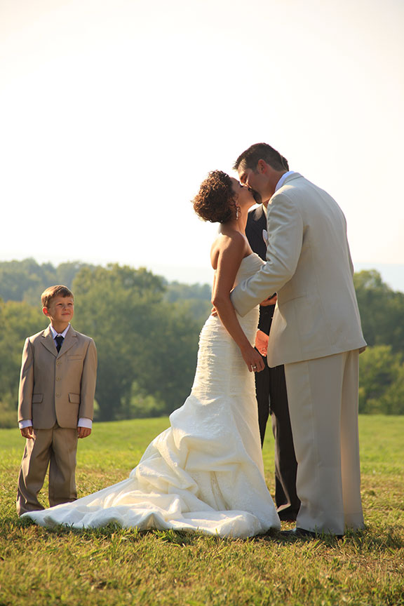 Virginia Farm Wedding Ceremony Photo Bride and Groom Kissing