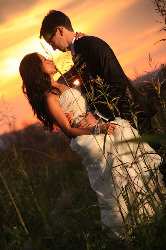 Stone Manor Country Club Bride and Groom At Sunset