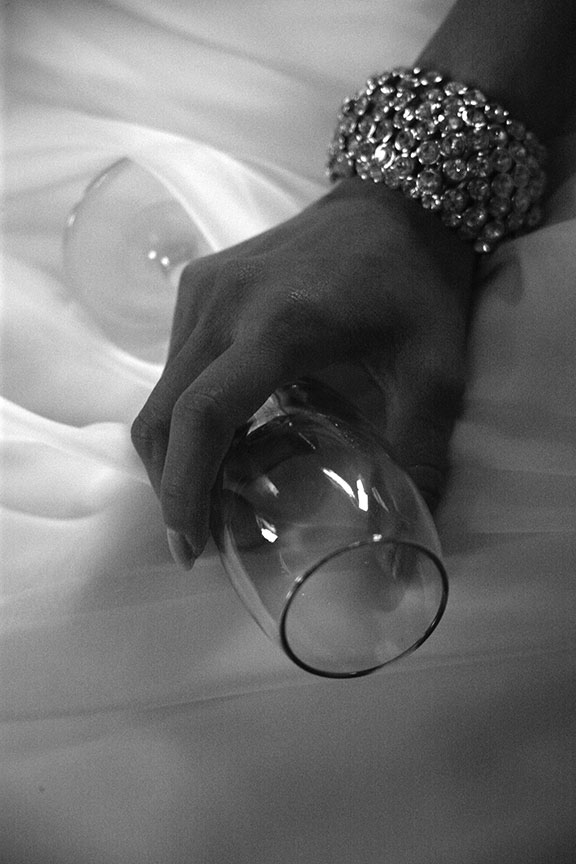 Stone Manor Country Club Wedding Detail Wine Glass and Bracelet Photo