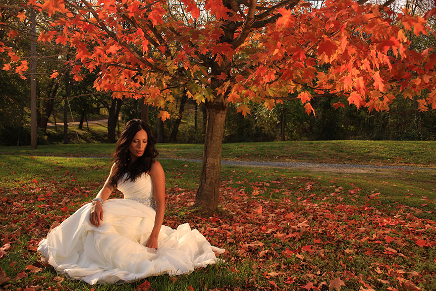 Stone Manor Country Club Bride Sitting Under Tree