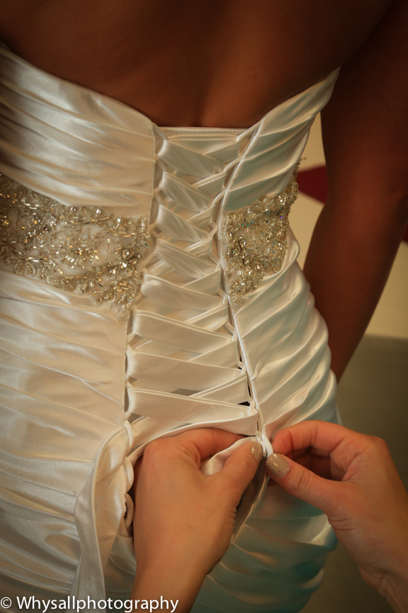 bull run wedding detail back of dress