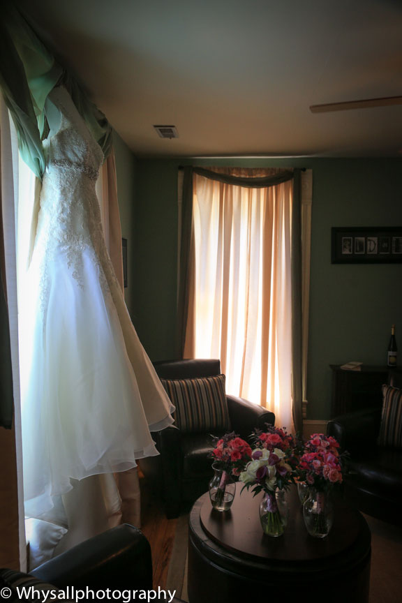 old house vineyards wedding dress photo